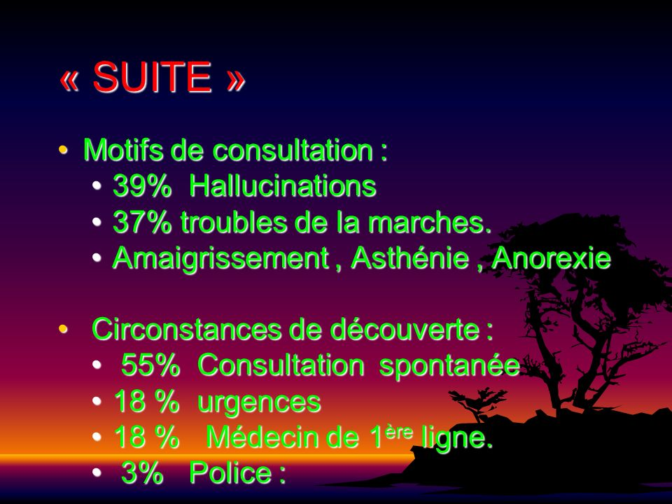 « SUITE » Motifs de consultation :Motifs de consultation : 39% Hallucinations39% Hallucinations 37% troubles de la marches.37% troubles de la marches.