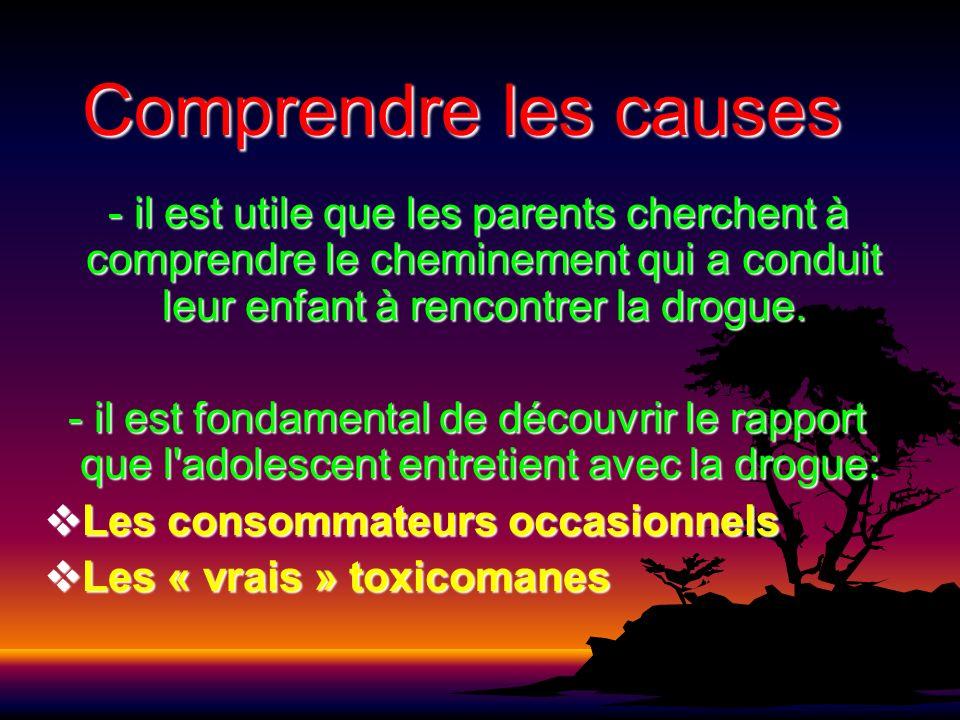 Comprendre les causes - il est utile que les parents cherchent à comprendre le cheminement qui a conduit leur enfant à rencontrer la drogue. - il est