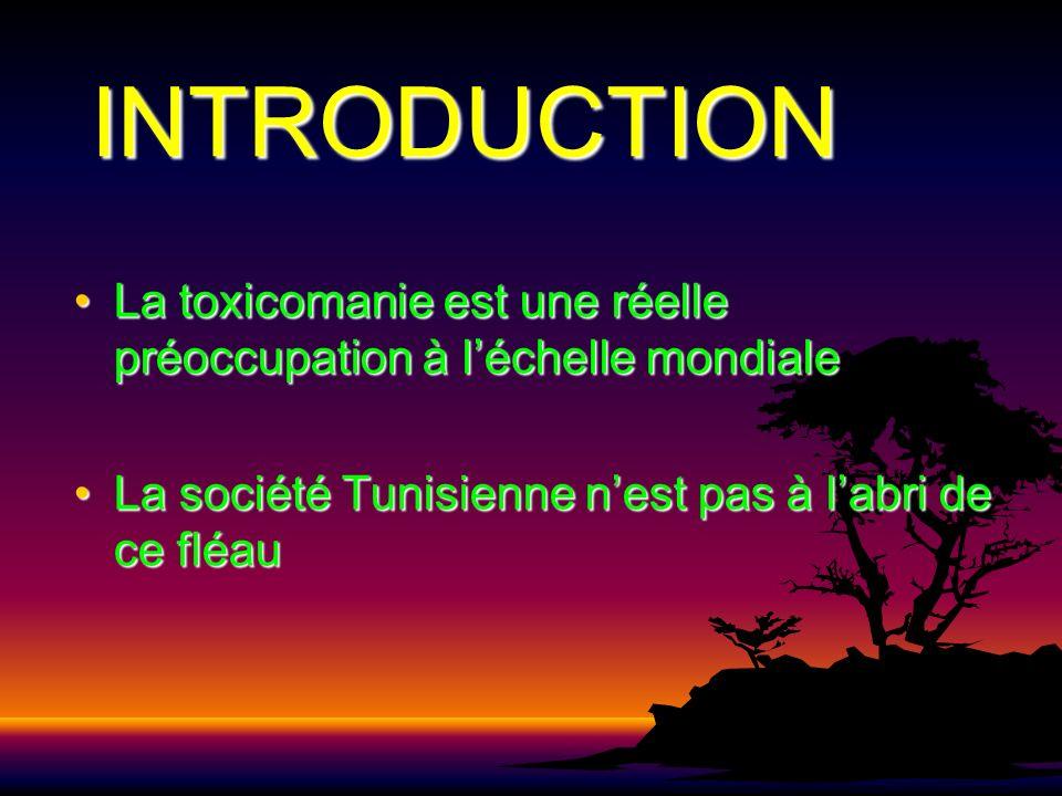 INTRODUCTION La toxicomanie est une réelle préoccupation à léchelle mondialeLa toxicomanie est une réelle préoccupation à léchelle mondiale La société