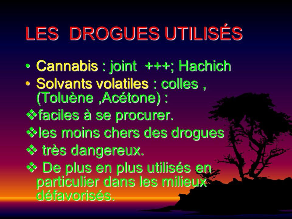 LES DROGUES UTILISÉS Cannabis : joint +++; HachichCannabis : joint +++; Hachich Solvants volatiles : colles, (Toluène,Acétone) :Solvants volatiles : c