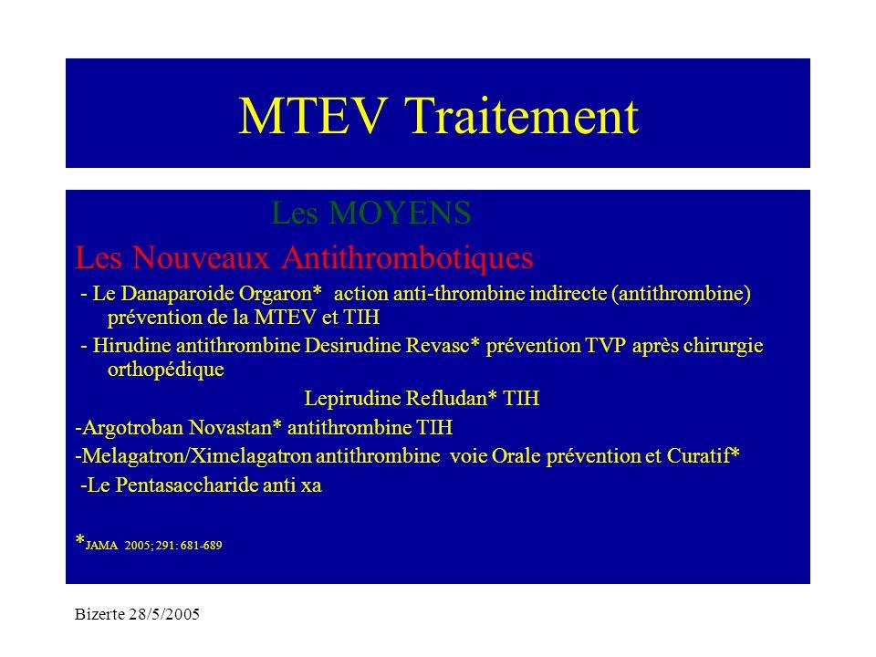 Bizerte 28/5/2005 MTEV Traitement Les MOYENS Les Nouveaux Antithrombotiques - Le Danaparoide Orgaron* action anti-thrombine indirecte (antithrombine)