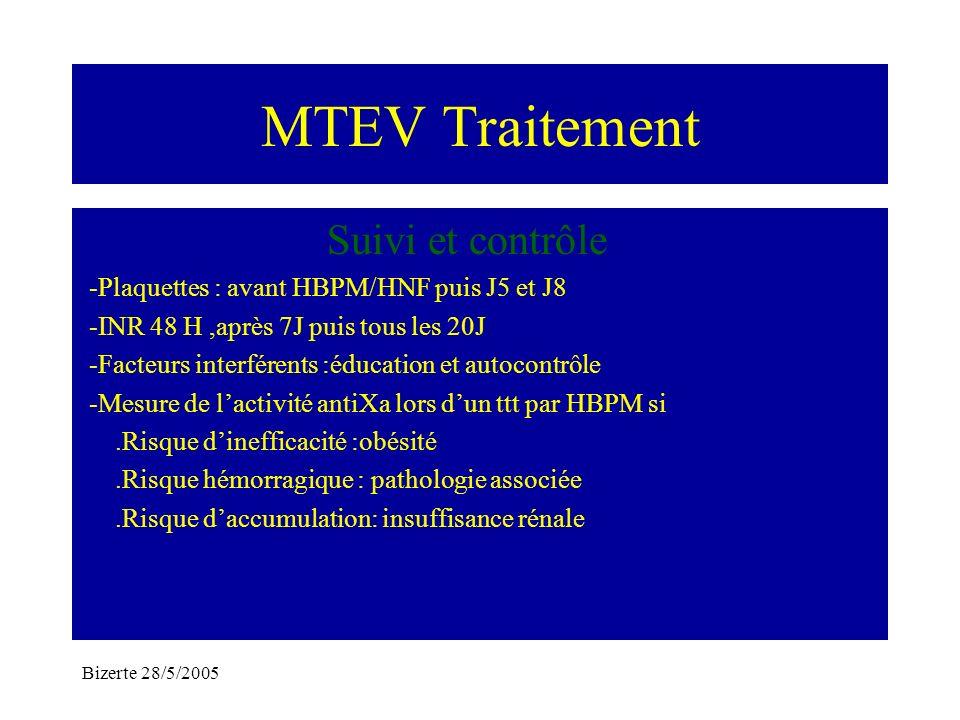 Bizerte 28/5/2005 MTEV Traitement Suivi et contrôle -Plaquettes : avant HBPM/HNF puis J5 et J8 -INR 48 H,après 7J puis tous les 20J -Facteurs interfér