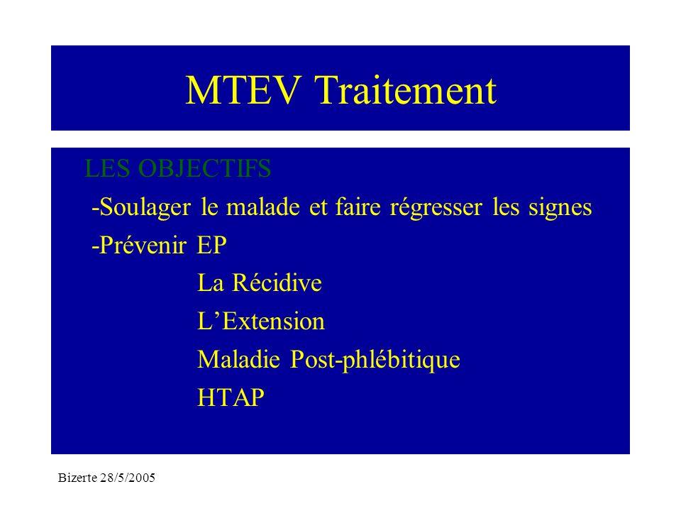 Bizerte 28/5/2005 MTEV Traitement LES OBJECTIFS -Soulager le malade et faire régresser les signes -Prévenir EP La Récidive LExtension Maladie Post-phl