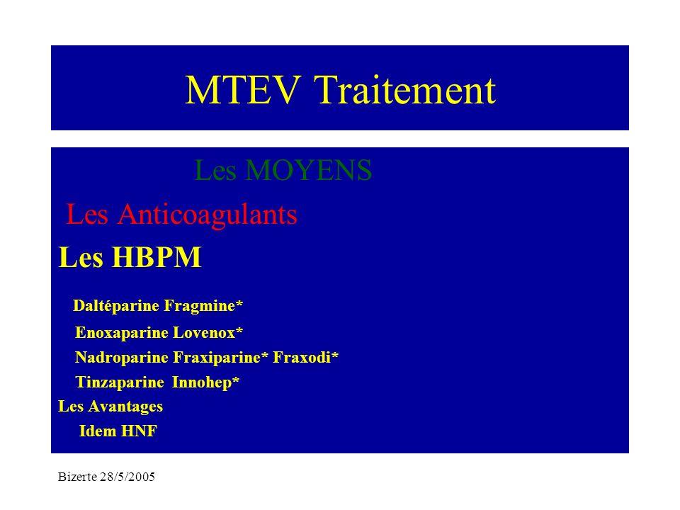 Bizerte 28/5/2005 MTEV Traitement Les MOYENS Les Anticoagulants Les HBPM Daltéparine Fragmine* Enoxaparine Lovenox* Nadroparine Fraxiparine* Fraxodi*