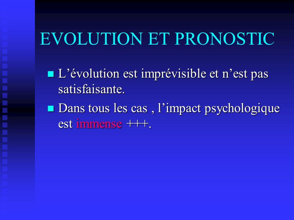 EVOLUTION ET PRONOSTIC Lévolution est imprévisible et nest pas satisfaisante. Lévolution est imprévisible et nest pas satisfaisante. Dans tous les cas