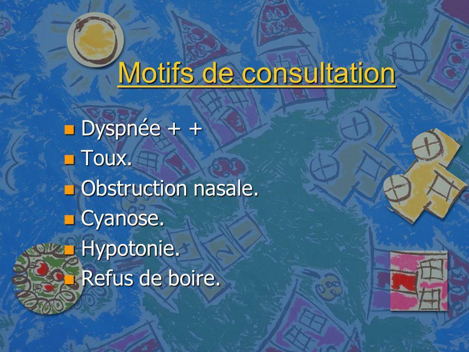 Motifs de consultation n Dyspnée + + n Toux. n Obstruction nasale. n Cyanose. n Hypotonie. n Refus de boire.