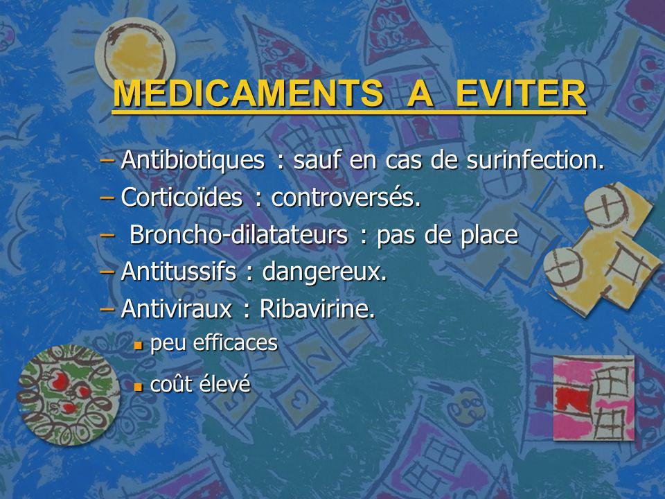 MEDICAMENTS A EVITER –Antibiotiques : sauf en cas de surinfection. –Corticoïdes : controversés. – Broncho-dilatateurs : pas de place –Antitussifs : da