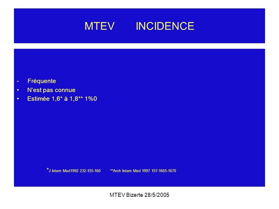 MTEV Bizerte 28/5/2005 MTEV INCIDENCE - Fréquente Nest pas connue Estimée 1,6* à 1,8** 1%0 * J Intern Med1992 232-155-160 **Arch Intern Med 1997 157-1