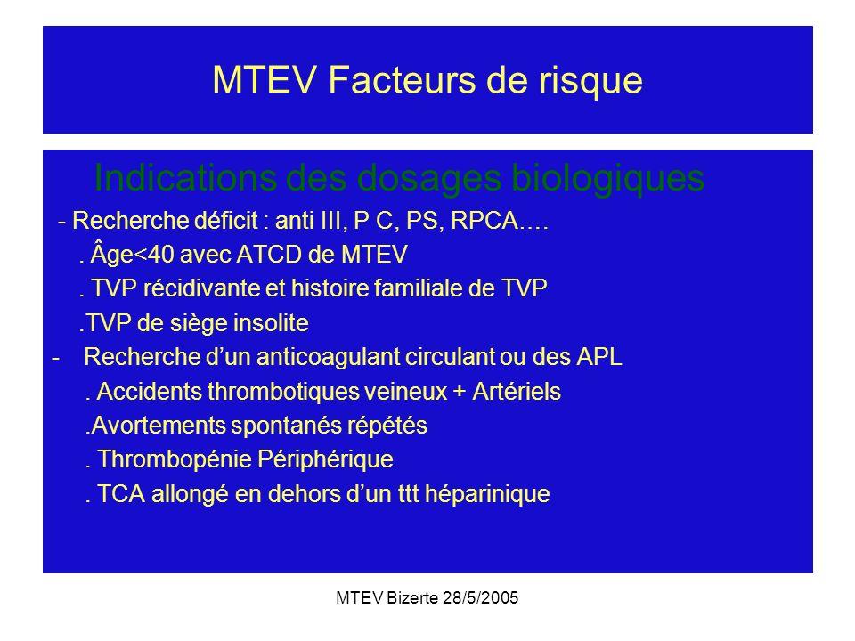 MTEV Bizerte 28/5/2005 MTEV Facteurs de risque Indications des dosages biologiques - Recherche déficit : anti III, P C, PS, RPCA….. Âge<40 avec ATCD d