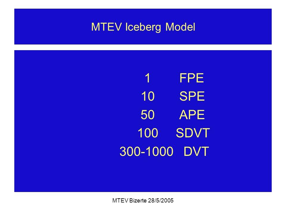 MTEV Bizerte 28/5/2005 MTEV Iceberg Model 1 FPE 10 SPE 50 APE 100 SDVT 300-1000 DVT