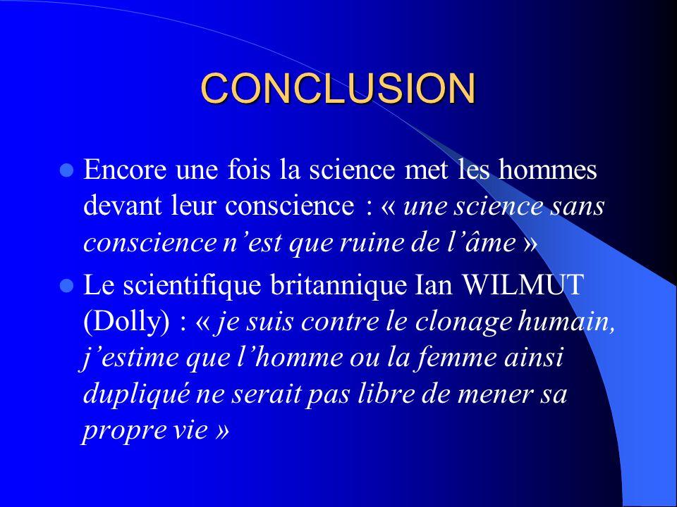 REACTIONS Loi française du 6/8/04 : bioéthique : – Clonage reproductif : crime – Clonage thérapeutique : délit En Tunisie : – Avis n°3 du CNEM : 22/5/