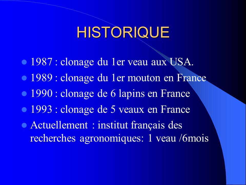 HISTORIQUE 1987 : clonage du 1er veau aux USA.