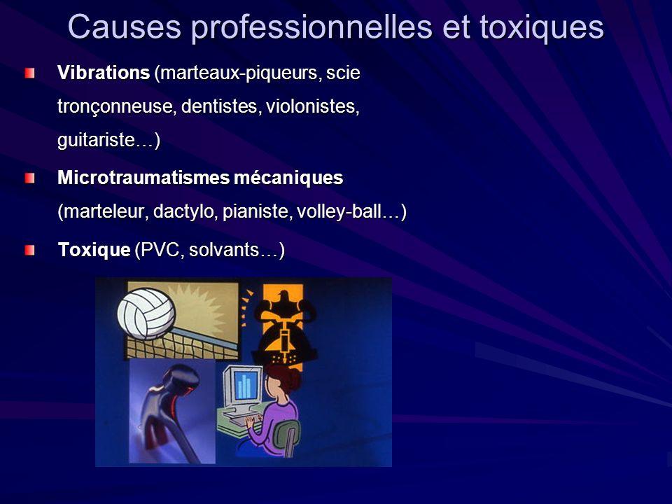 Causes professionnelles et toxiques Vibrations (marteaux-piqueurs, scie tronçonneuse, dentistes, violonistes, guitariste…) Microtraumatismes mécanique
