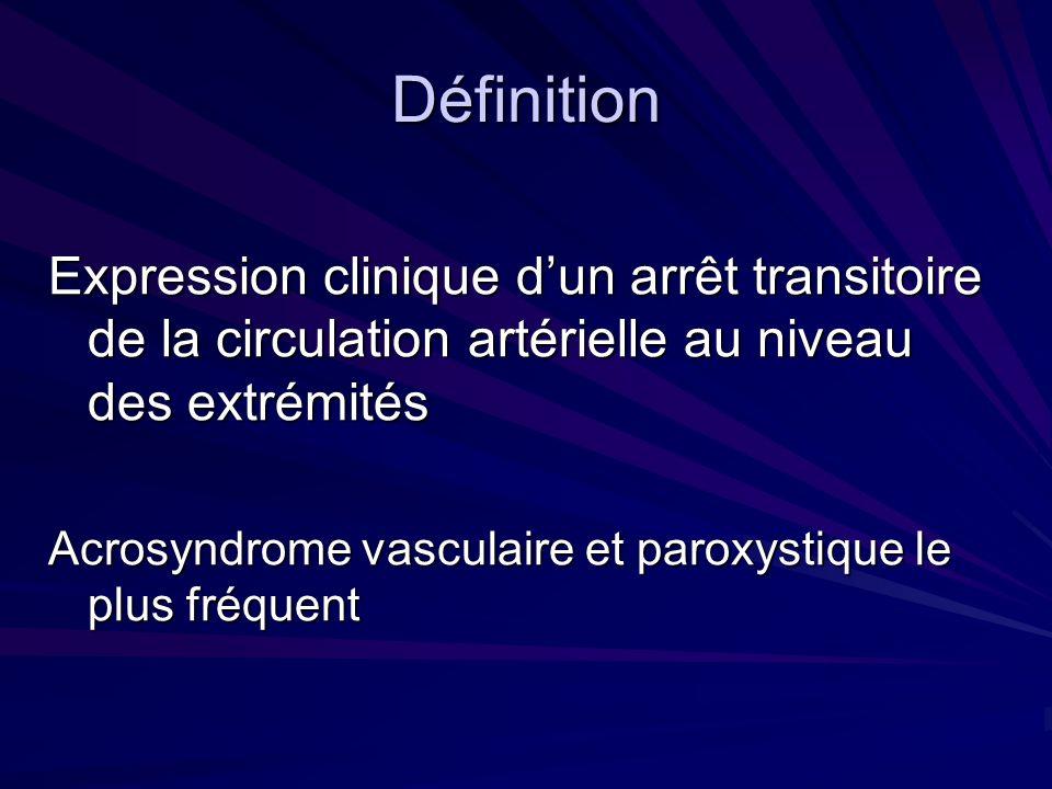 Définition Expression clinique dun arrêt transitoire de la circulation artérielle au niveau des extrémités Acrosyndrome vasculaire et paroxystique le