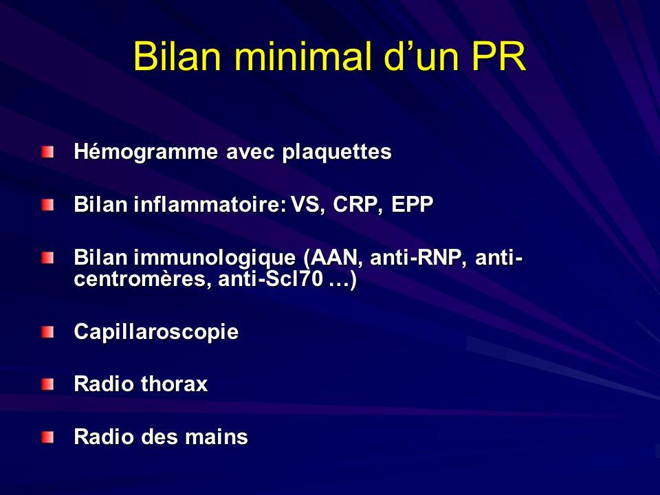 Bilan minimal dun PR Hémogramme avec plaquettes Bilan inflammatoire: VS, CRP, EPP Bilan immunologique (AAN, anti-RNP, anti- centromères, anti-Scl70 …)