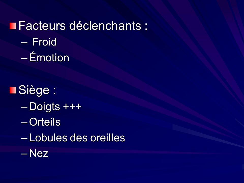 Facteurs déclenchants : – Froid –Émotion Siège : –Doigts +++ –Orteils –Lobules des oreilles –Nez