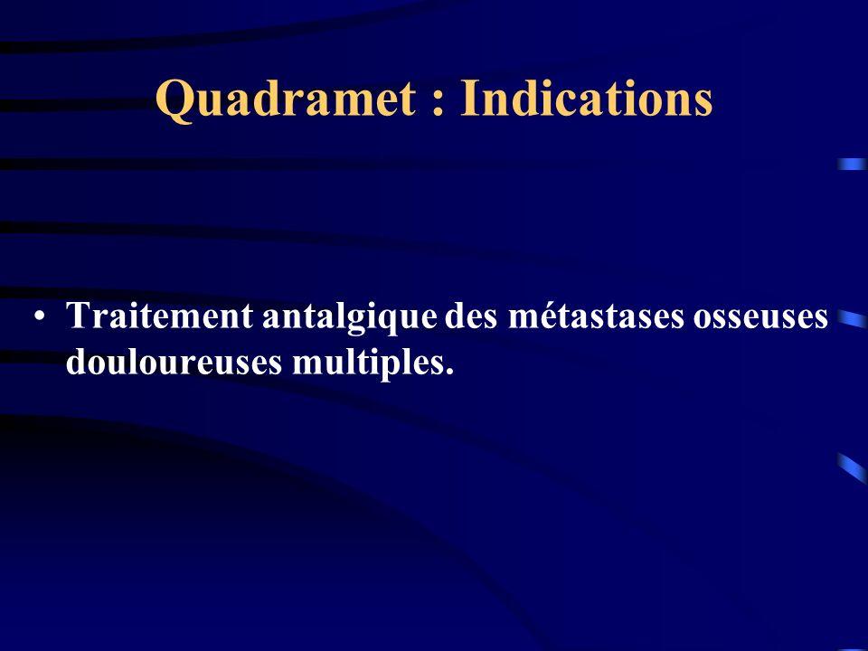 Quadramet : Indications Traitement antalgique des métastases osseuses douloureuses multiples.