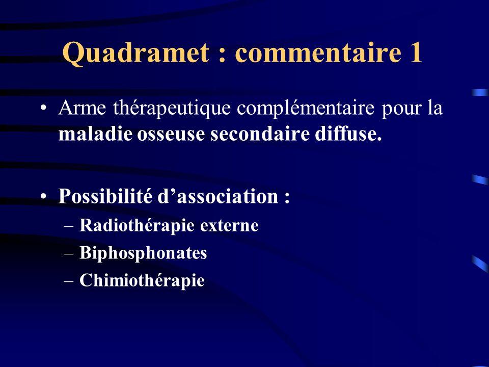Quadramet : commentaire 1 Arme thérapeutique complémentaire pour la maladie osseuse secondaire diffuse. Possibilité dassociation : –Radiothérapie exte