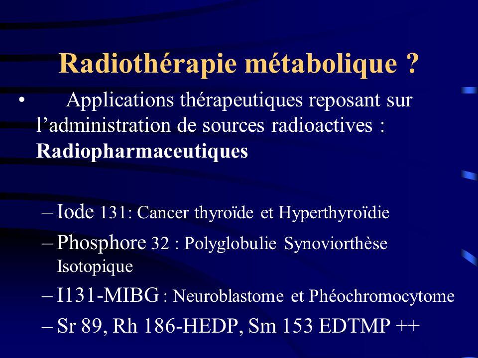 Radiothérapie métabolique ? Applications thérapeutiques reposant sur ladministration de sources radioactives : Radiopharmaceutiques –Iode 131: Cancer