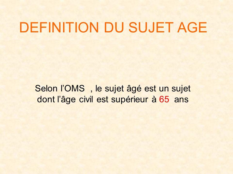 DEFINITION DU SUJET AGE Selon lOMS, le sujet âgé est un sujet dont lâge civil est supérieur à 65 ans