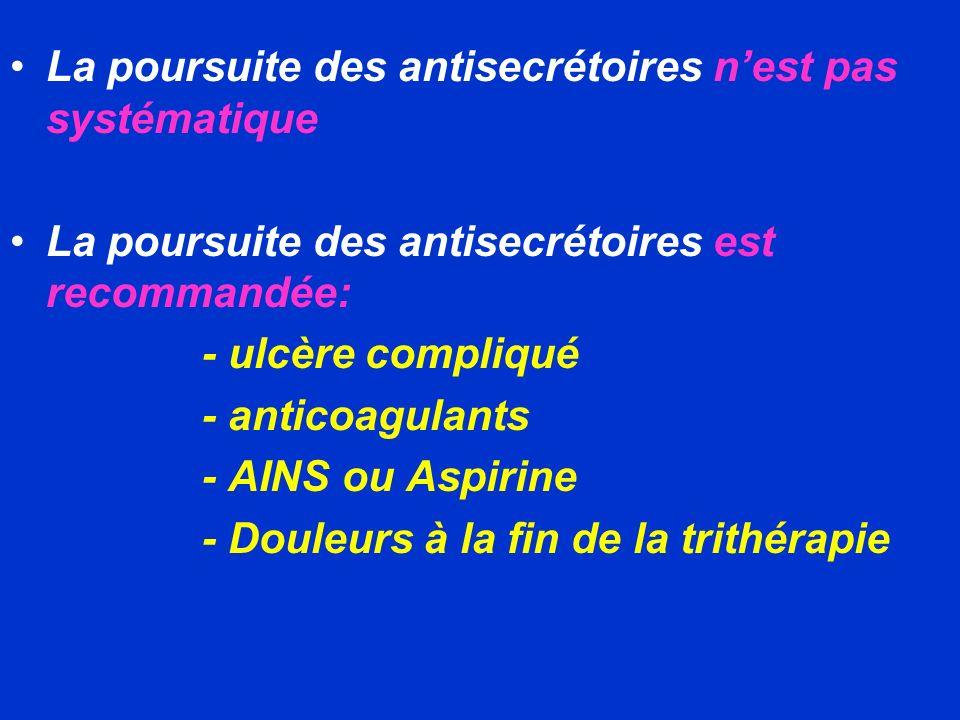 La poursuite des antisecrétoires nest pas systématique La poursuite des antisecrétoires est recommandée: - ulcère compliqué - anticoagulants - AINS ou