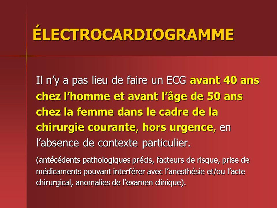 ÉLECTROCARDIOGRAMME Il ny a pas lieu de faire un ECG avant 40 ans chez lhomme et avant lâge de 50 ans chez la femme dans le cadre de la chirurgie cour