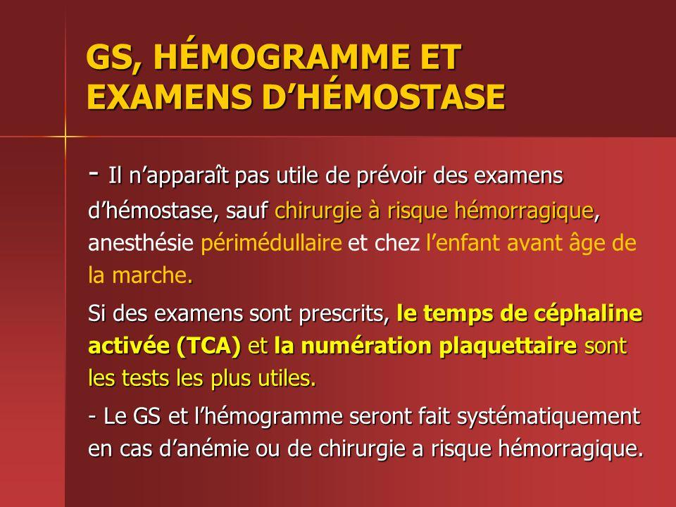 GS, HÉMOGRAMME ET EXAMENS DHÉMOSTASE - Il napparaît pas utile de prévoir des examens dhémostase, sauf chirurgie à risque hémorragique,. - Il napparaît