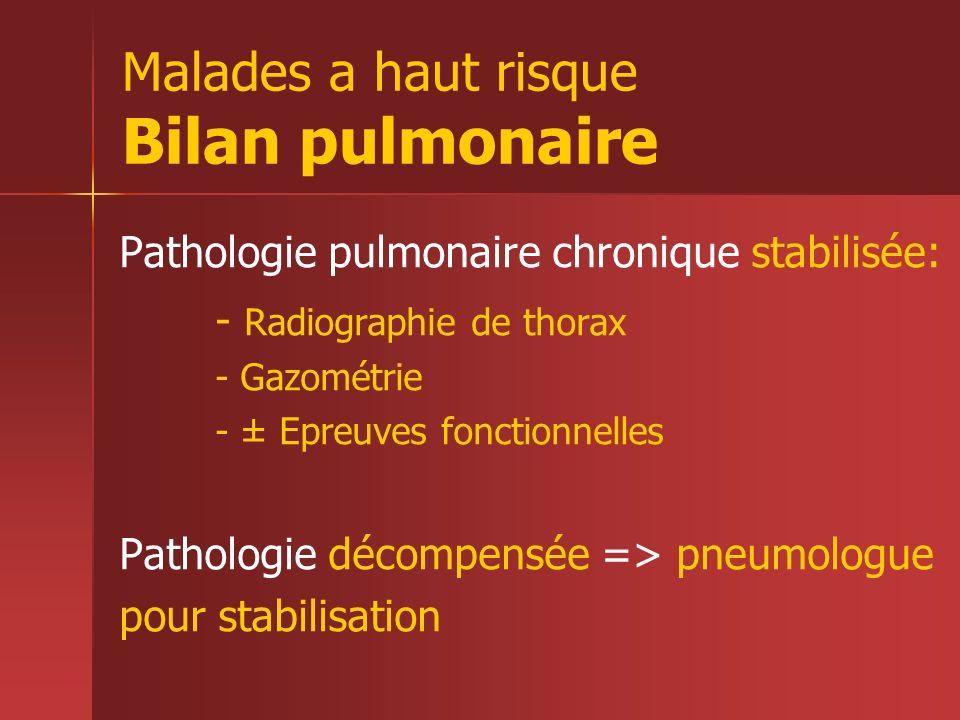 Malades a haut risque Bilan pulmonaire Pathologie pulmonaire chronique stabilisée: - Radiographie de thorax - Gazométrie - ± Epreuves fonctionnelles P