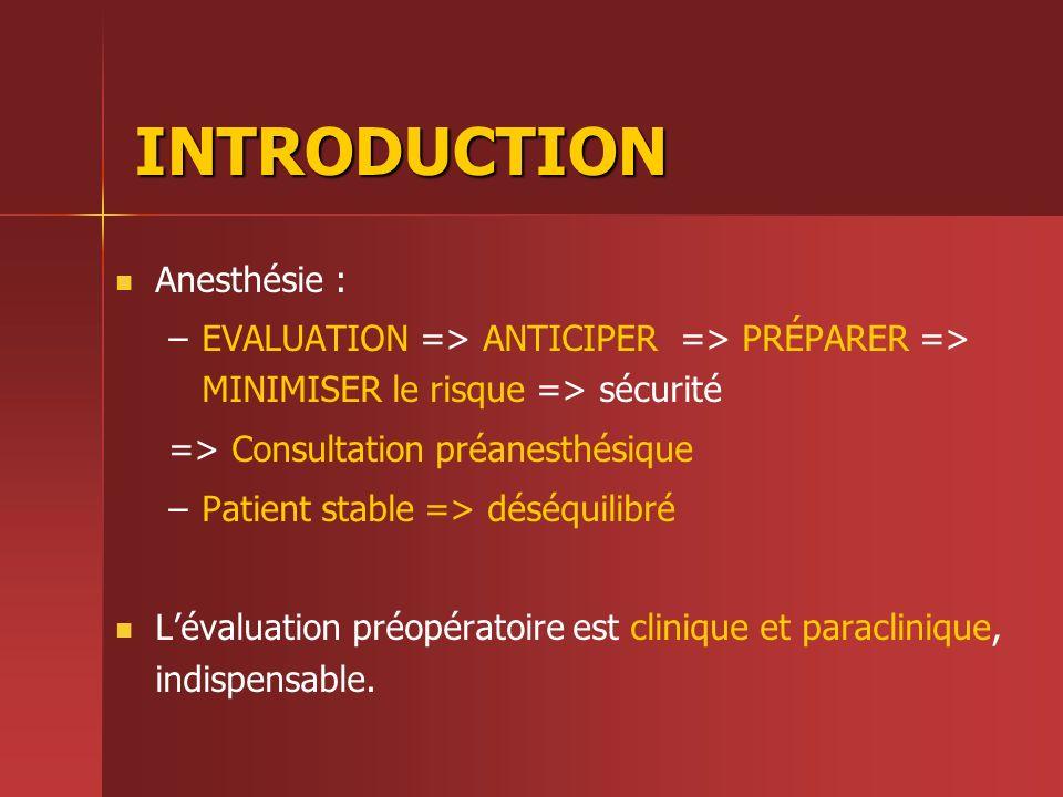 INTRODUCTION Anesthésie : – –EVALUATION => ANTICIPER => PRÉPARER => MINIMISER le risque => sécurité => Consultation préanesthésique – –Patient stable