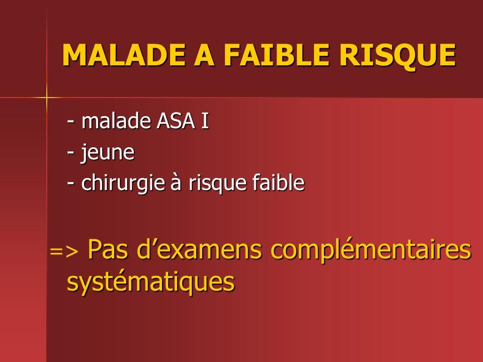 MALADE A FAIBLE RISQUE - malade ASA I - jeune - chirurgie à risque faible Pas dexamens complémentaires systématiques => Pas dexamens complémentaires s