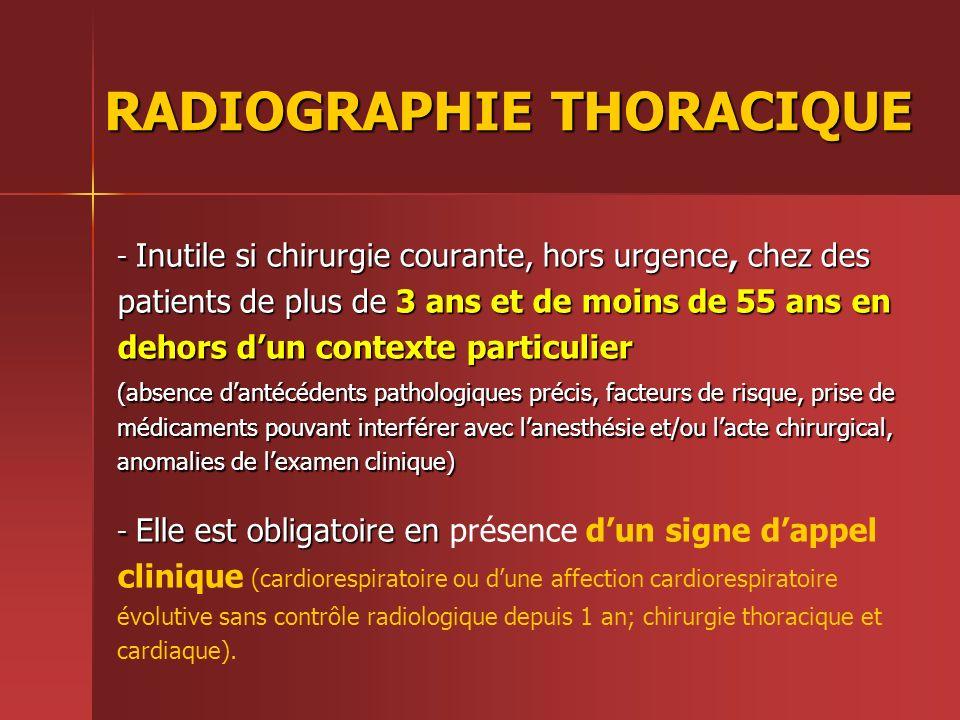 RADIOGRAPHIE THORACIQUE - Inutile si chirurgie courante, hors urgence, chez des patients de plus de 3 ans et de moins de 55 ans en dehors dun contexte