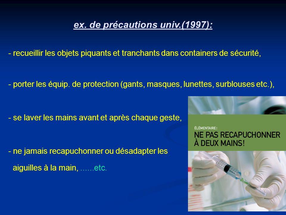ex. de précautions univ.(1997): - recueillir les objets piquants et tranchants dans containers de sécurité, - porter les équip. de protection (gants,