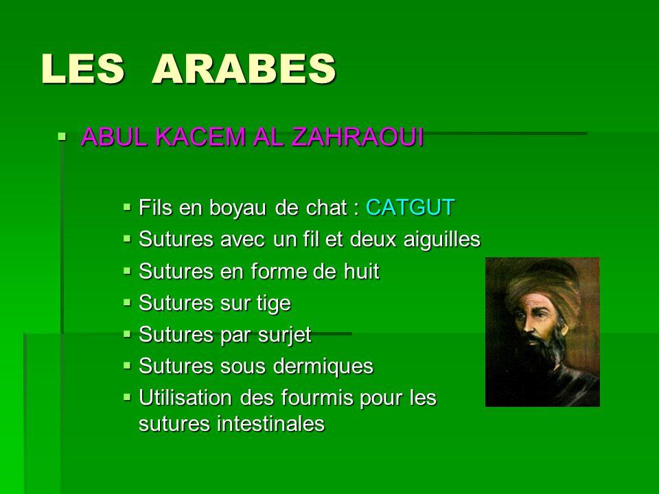 LES ARABES ABUL KACEM AL ZAHRAOUI ABUL KACEM AL ZAHRAOUI Fils en boyau de chat : CATGUT Sutures avec un fil et deux aiguilles Sutures en forme de huit