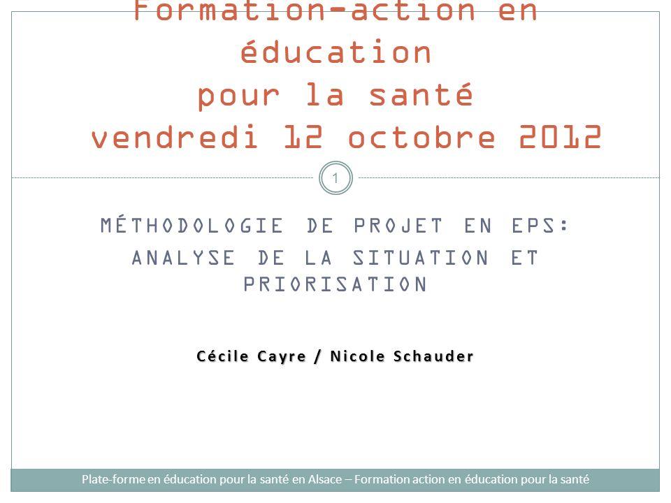 MÉTHODOLOGIE DE PROJET EN EPS: ANALYSE DE LA SITUATION ET PRIORISATION Cécile Cayre / Nicole Schauder Formation-action en éducation pour la santé vend