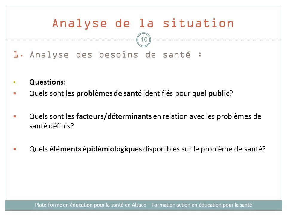 1.Analyse des besoins de santé : Questions: Quels sont les problèmes de santé identifiés pour quel public? Quels sont les facteurs/déterminants en rel