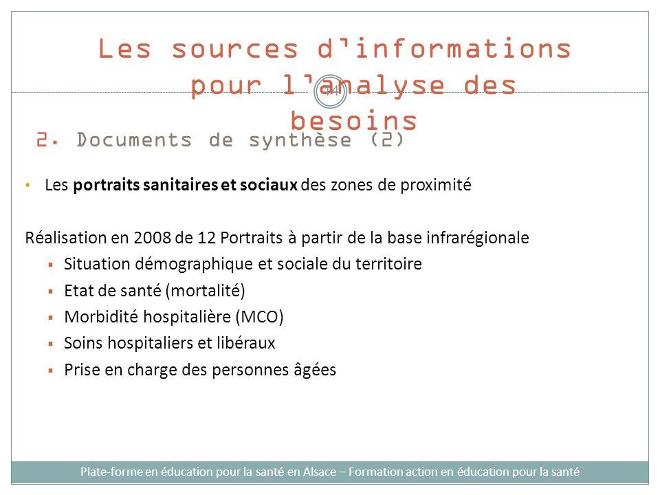 2. Documents de synthèse (2) Les portraits sanitaires et sociaux des zones de proximité Réalisation en 2008 de 12 Portraits à partir de la base infrar