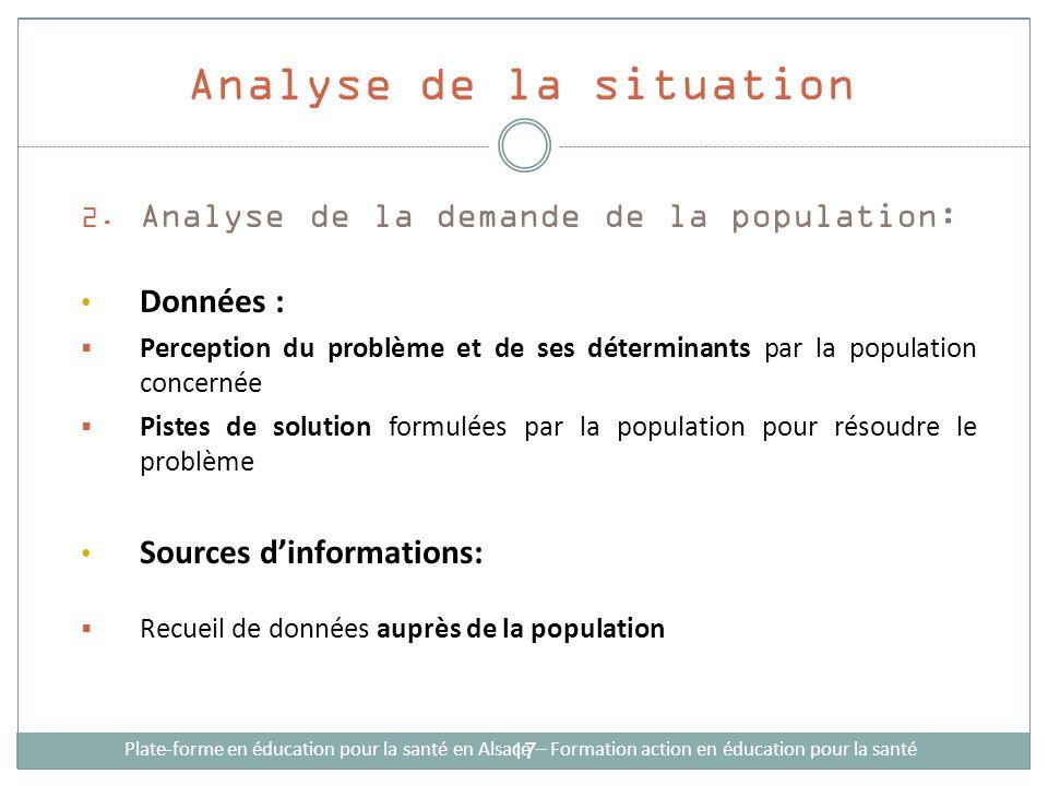2. Analyse de la demande de la population: Données : Perception du problème et de ses déterminants par la population concernée Pistes de solution form