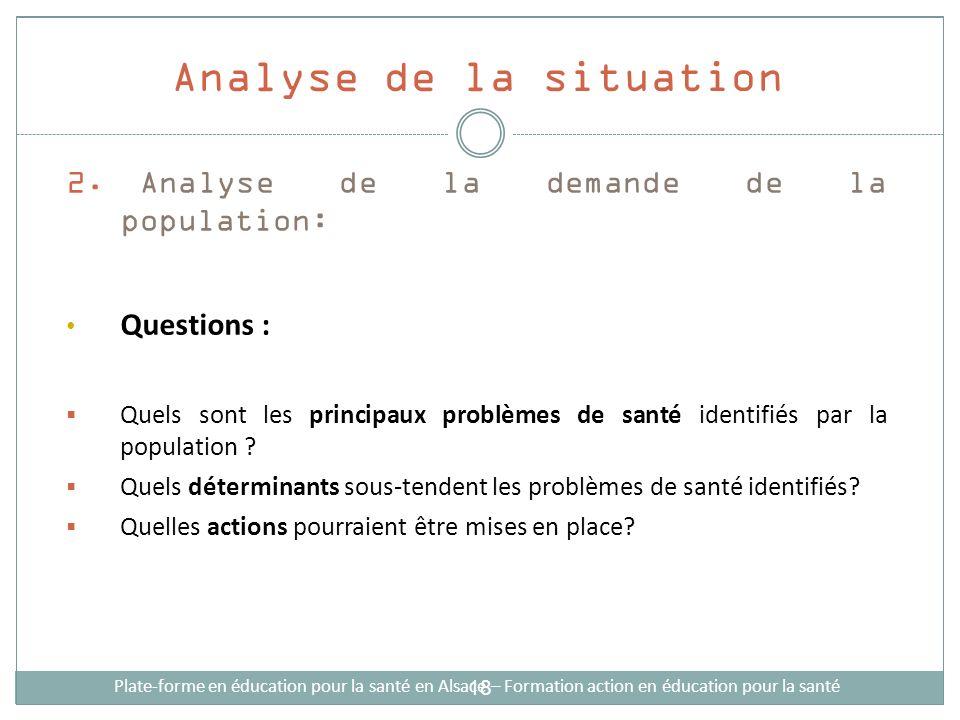 2. Analyse de la demande de la population: Questions : Quels sont les principaux problèmes de santé identifiés par la population ? Quels déterminants