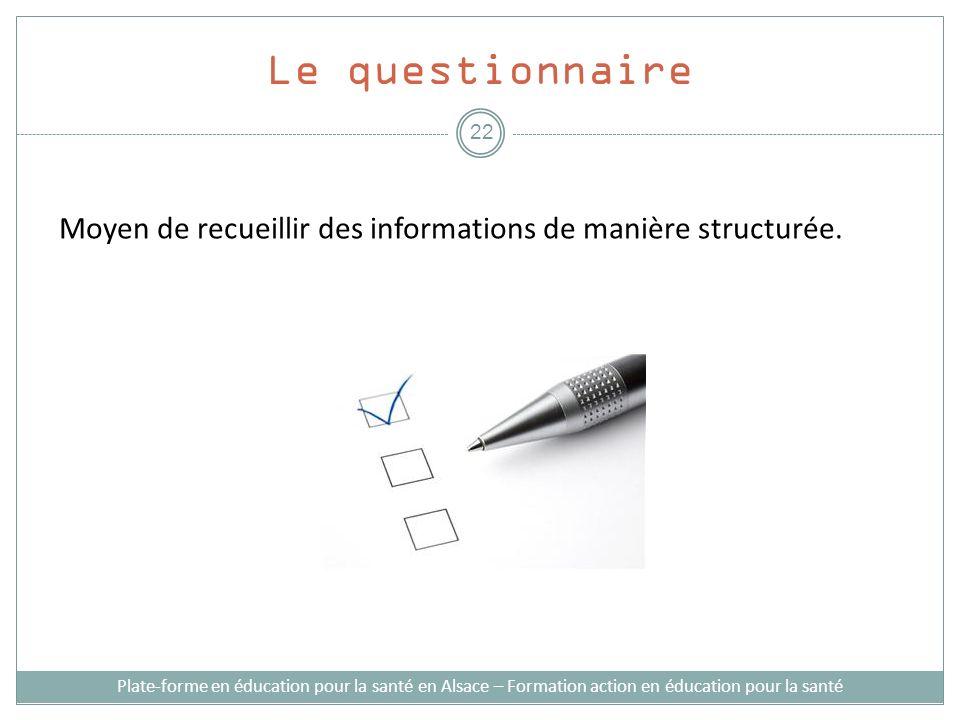 Le questionnaire Moyen de recueillir des informations de manière structurée. Plate-forme en éducation pour la santé en Alsace – Formation action en éd