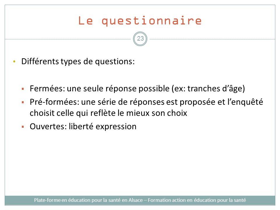 Le questionnaire Différents types de questions: Fermées: une seule réponse possible (ex: tranches dâge) Pré-formées: une série de réponses est proposé