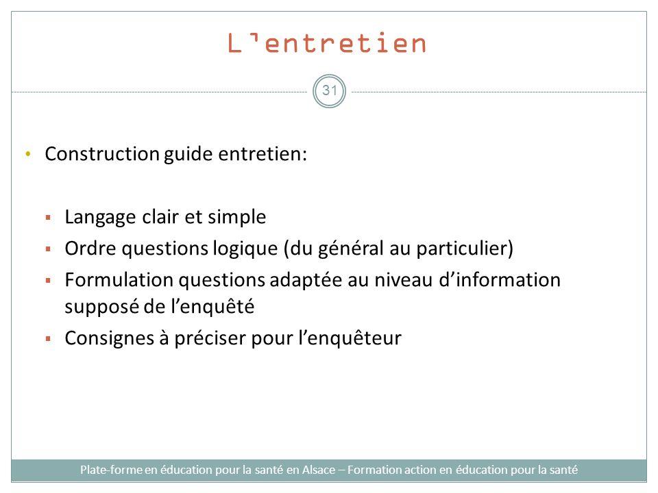 Lentretien Construction guide entretien: Langage clair et simple Ordre questions logique (du général au particulier) Formulation questions adaptée au