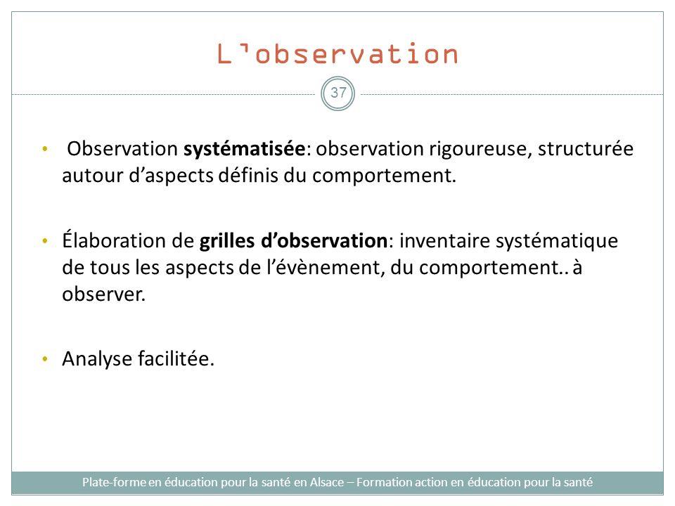 Lobservation Observation systématisée: observation rigoureuse, structurée autour daspects définis du comportement. Élaboration de grilles dobservation