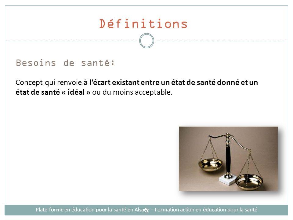 Définitions Demandes: Il sagit des besoins (attentes, manques) exprimés par la population Plate-forme en éducation pour la santé en Alsace – Formation action en éducation pour la santé 6
