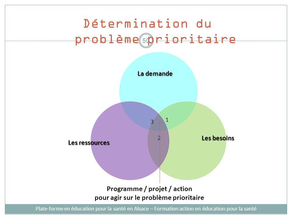 Les besoins Les ressources Programme / projet / action pour agir sur le problème prioritaire La demande Détermination du problème prioritaire 1 2 3 Pl