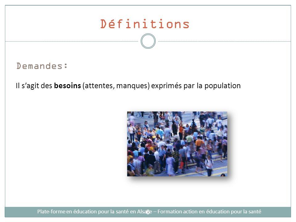 Définitions Demandes: Il sagit des besoins (attentes, manques) exprimés par la population Plate-forme en éducation pour la santé en Alsace – Formation