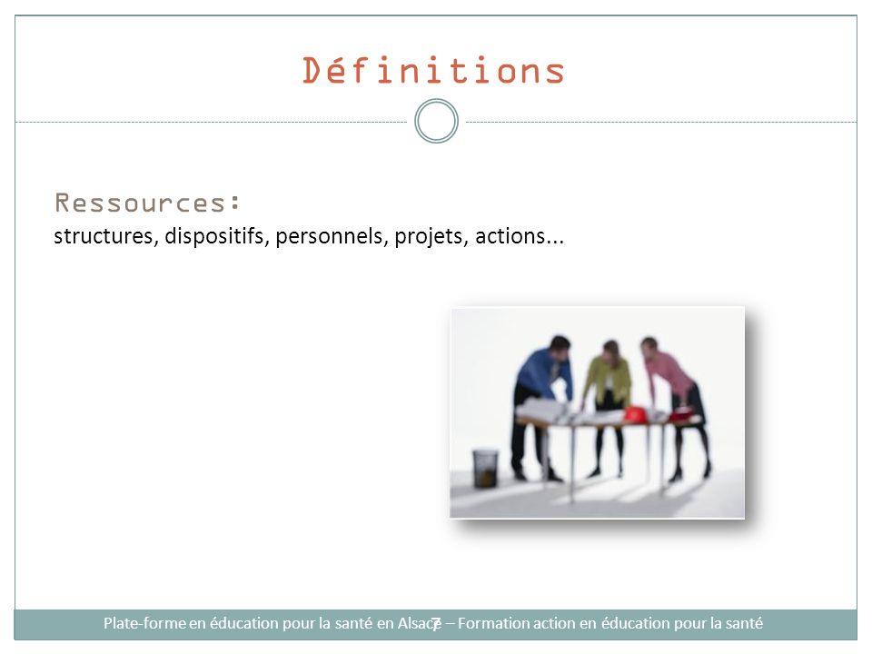 Définitions Ressources: structures, dispositifs, personnels, projets, actions... Plate-forme en éducation pour la santé en Alsace – Formation action e