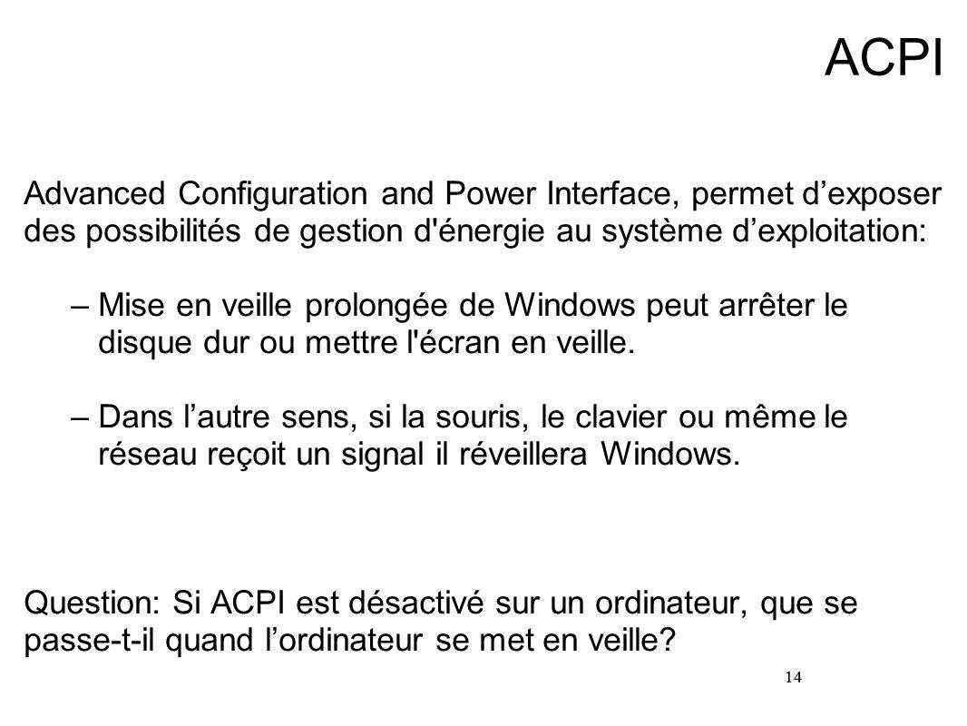 14 ACPI Advanced Configuration and Power Interface, permet dexposer des possibilités de gestion d'énergie au système dexploitation: –Mise en veille pr