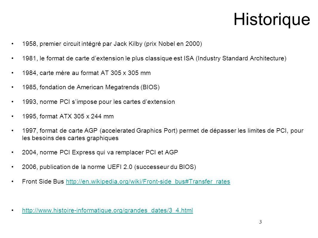 3 Historique 1958, premier circuit intégré par Jack Kilby (prix Nobel en 2000) 1981, le format de carte dextension le plus classique est ISA (Industry