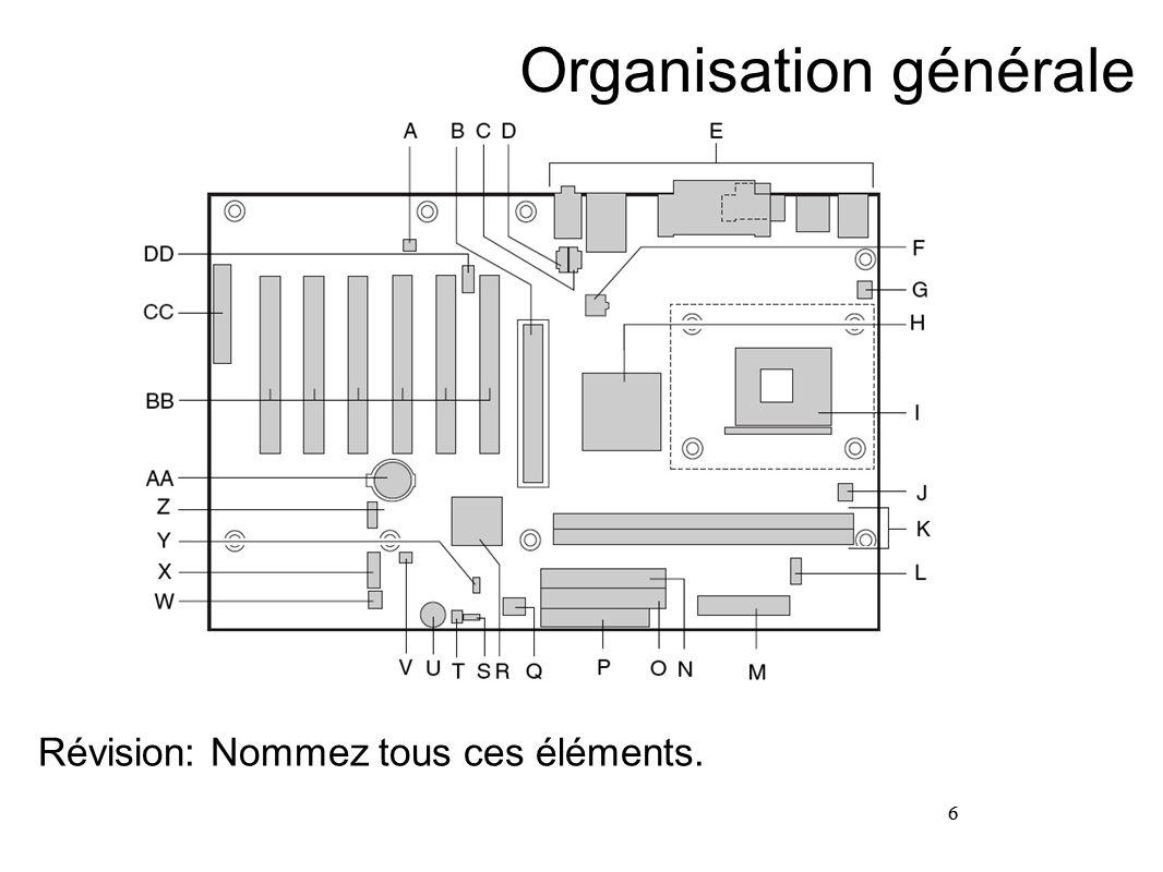 6 Organisation générale Révision: Nommez tous ces éléments. 6