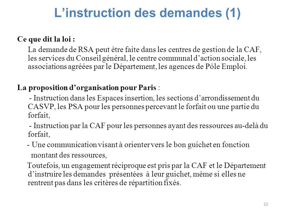 10 Linstruction des demandes (1) Ce que dit la loi : La demande de RSA peut être faite dans les centres de gestion de la CAF, les services du Conseil
